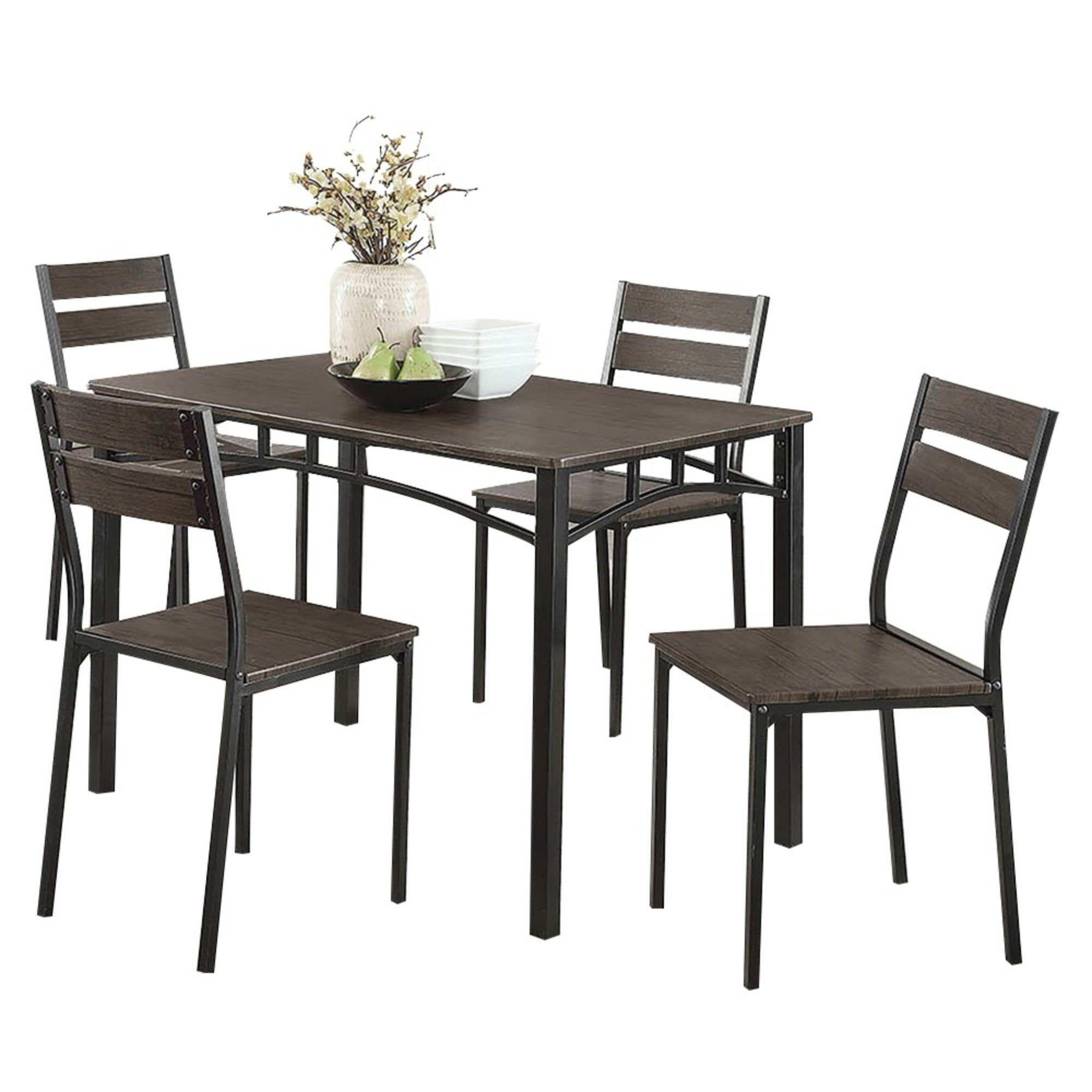 Yedinak 5 Piece Solid Wood Dining Sets within Most Popular Union Rustic Brodhead Wooden 5 Piece Counter Height Dining Table Set