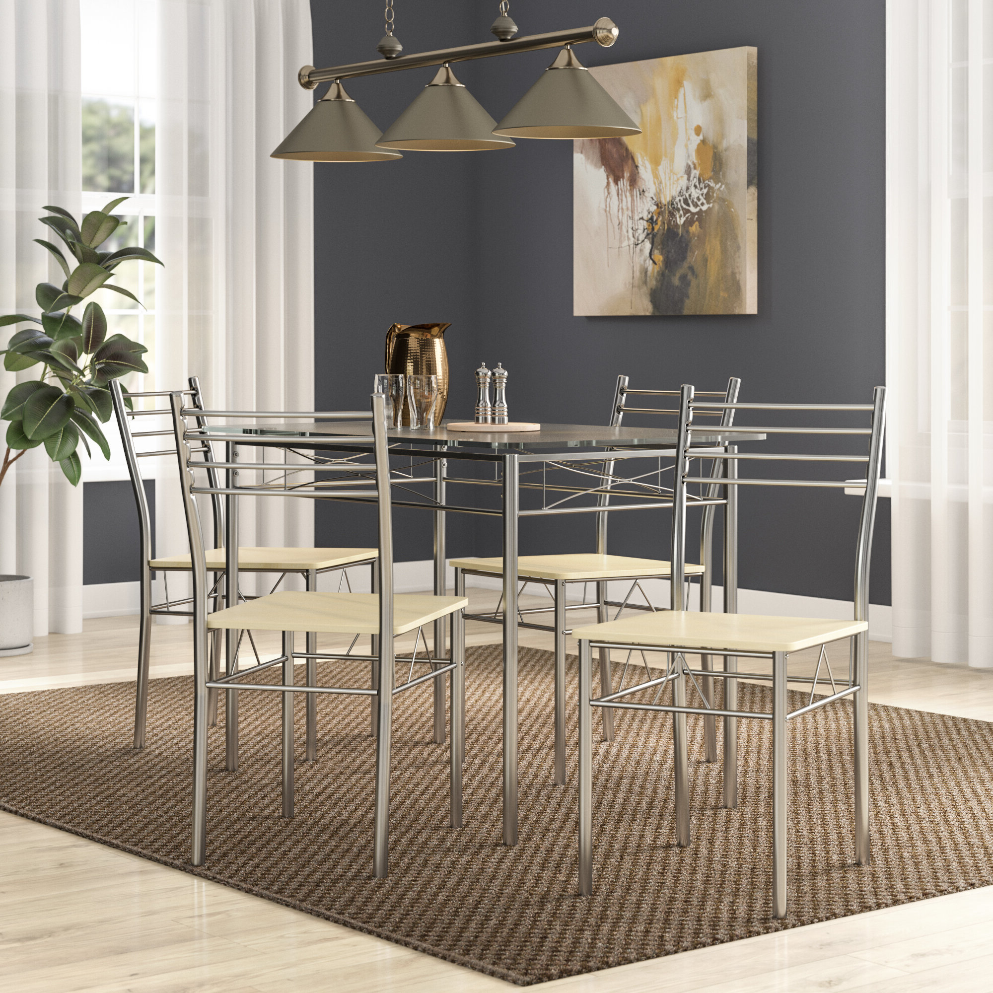 Zipcode Design North Reading 5 Piece Dining Table Set & Reviews In Widely Used North Reading 5 Piece Dining Table Sets (View 25 of 25)