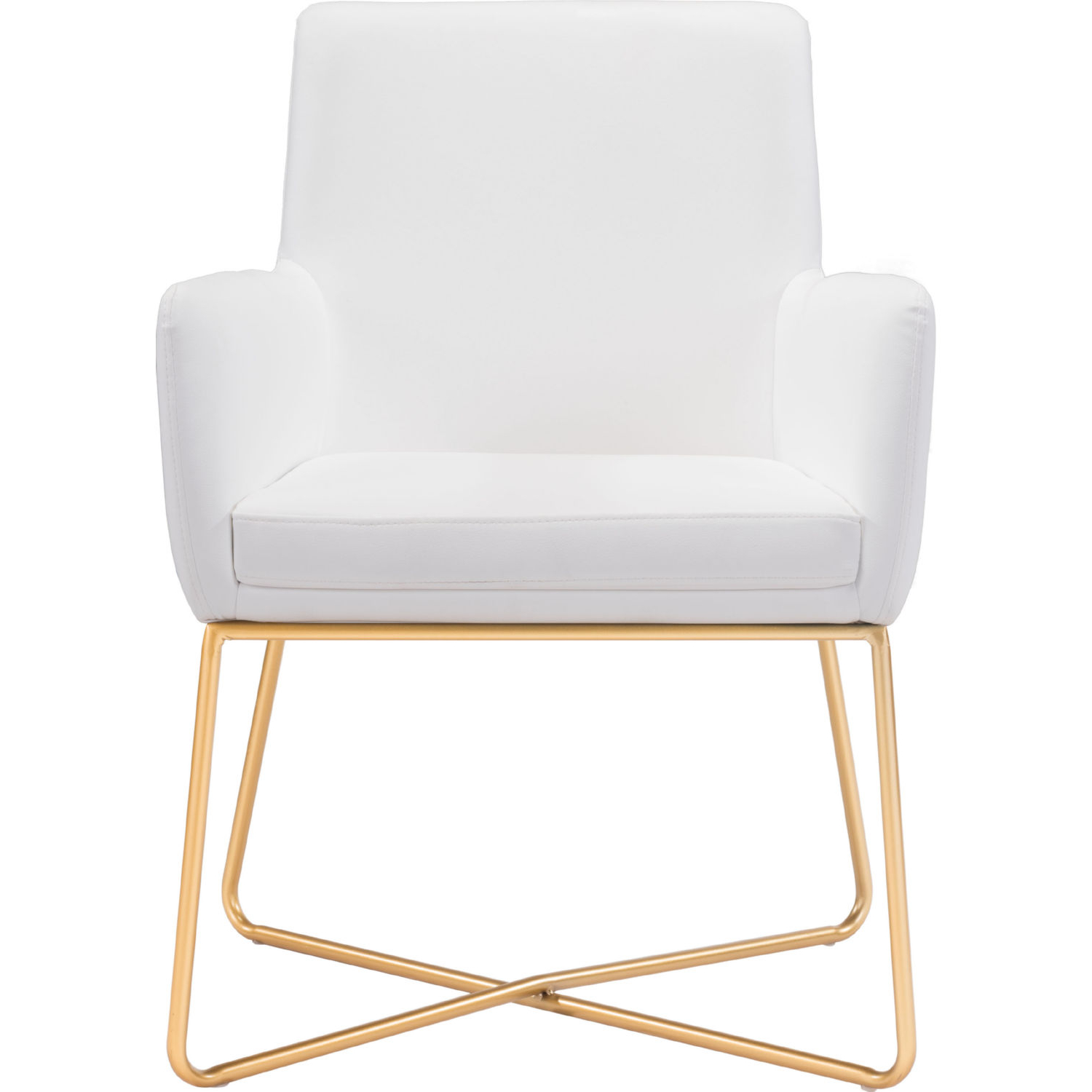 Zuo 101147 Honoria Arm Chair In White Leatherette On Gold Metal With Well Known Honoria 3 Piece Dining Sets (View 20 of 25)