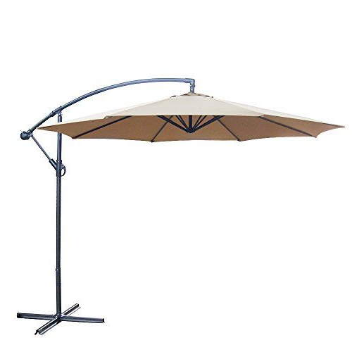 10 Foot Offset Backyard Patio Umbrella Tan Polyester Outdoor Inside Well Liked Alyssa Cantilever Umbrellas (View 10 of 25)