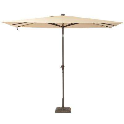 10 Ft. X 6 Ft. Aluminum Solar Patio Umbrella In Cafe Inside Most Popular Maidste Square Cantilever Umbrellas (Gallery 20 of 25)