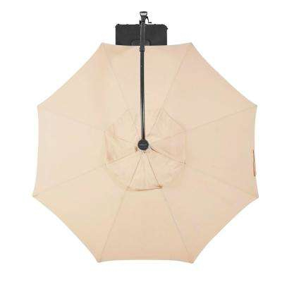 11 Ft. Aluminum Cantilever Solar Led Offset Patio Umbrella In Putty Inside Most Current Alder Half Round Outdoor Patio Market Umbrellas (Gallery 19 of 25)