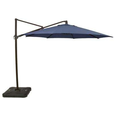 11 Ft. Aluminum Cantilever Tilt Patio Umbrella In Cushionguard Sky With  Black Pole For Fashionable Olen Cantilever Umbrellas (Gallery 18 of 25)