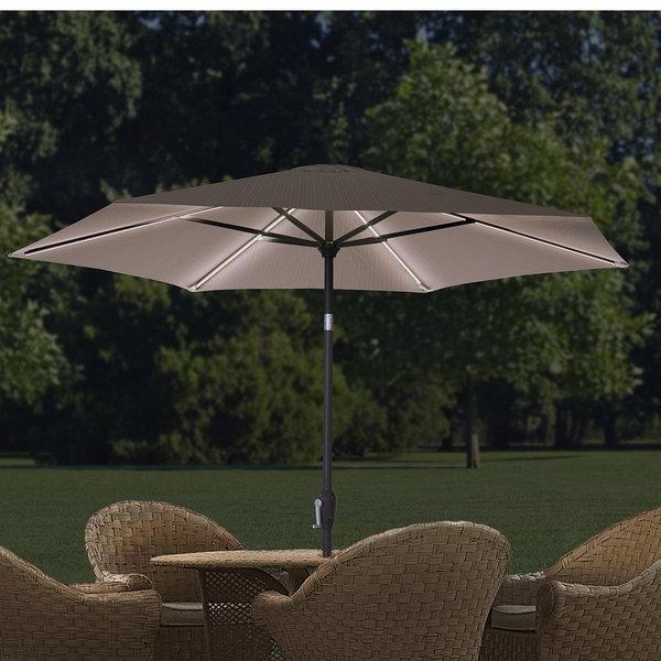 2017 9 Ft. Led Hexagonal Market Umbrella intended for Eastwood Market Umbrellas
