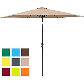 2017 Amazon : Le Papillon 9 Ft Outdoor Patio Umbrella Aluminum Table Inside Sittard Market Umbrellas (View 1 of 25)