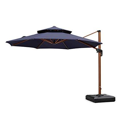 2017 Anna Cantilever Umbrellas In Purple Leaf 11 Feet Double Top Deluxe Wood Pattern Patio Umbrella Offset  Hanging Umbrella Cantilever Umbrella Outdoor Market Umbrella Garden  Umbrella, (View 12 of 25)