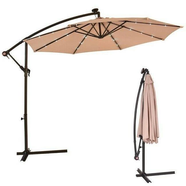2017 Hanging Patio Umbrella Solar Led Lights Offset Outdoor Tilt Crank with regard to Yajaira Cantilever Umbrellas