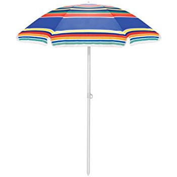 2017 Kerner Steel Beach Umbrellas In Amazon : Sunnydaze 5 Foot Outdoor Beach Umbrella With Tilt (View 1 of 25)
