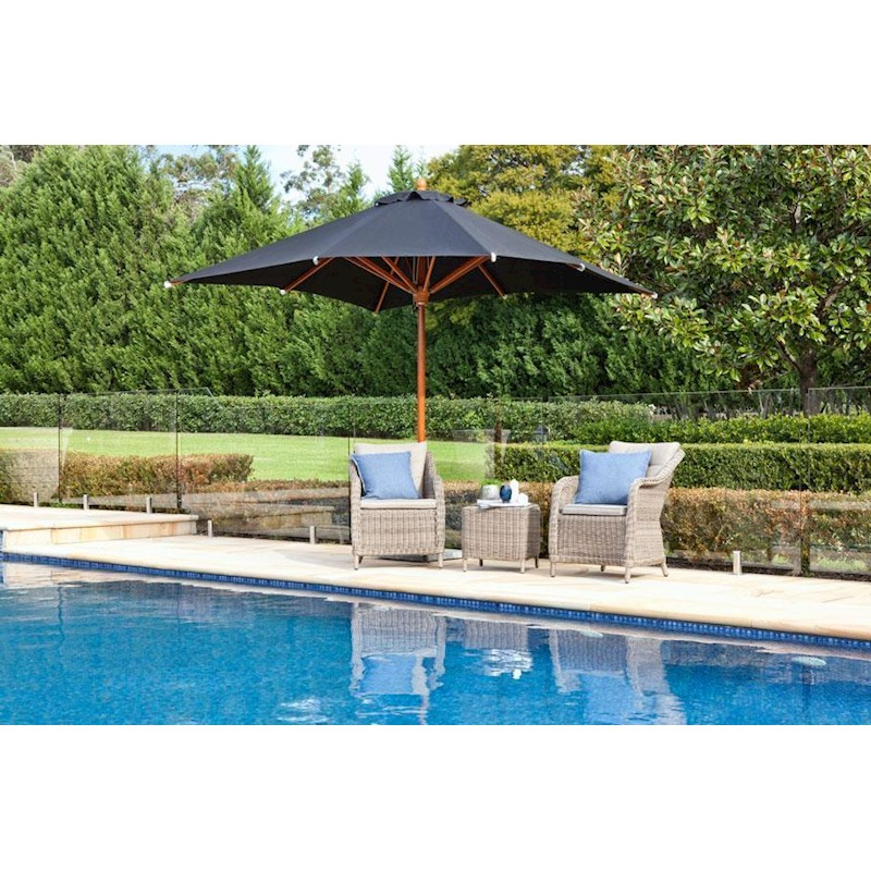 2017 Krystal Square Cantilever Sunbrella Umbrellas Inside Samarkand 280Cm Square Terrazzo Delux Umbrella With Saligna Hardwood Frame,  Stainless Steel Hardware And Sunbrella Fabric In Black (View 24 of 25)