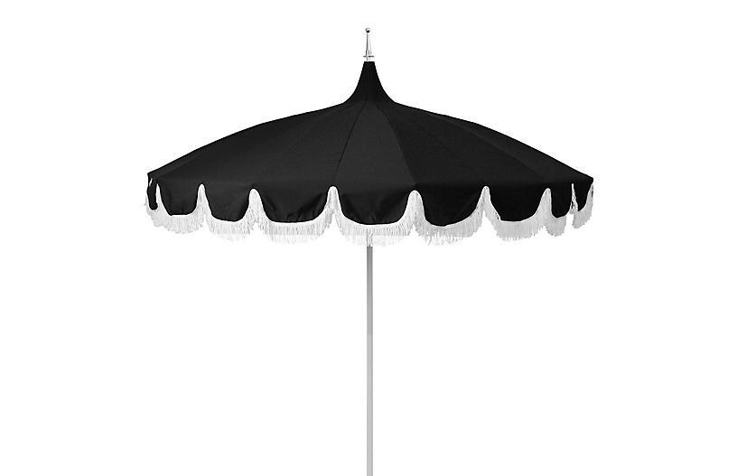 2017 Lizarraga Market Umbrellas Regarding Aya Pagoda Fringe Patio Umbrella, Black (View 18 of 25)