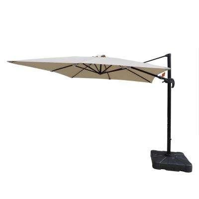 2017 Maidste Square Cantilever Umbrellas pertaining to Santorini Ii 10 Ft. Square Cantilever Patio Umbrella In Beige Sunbrella  Acrylic