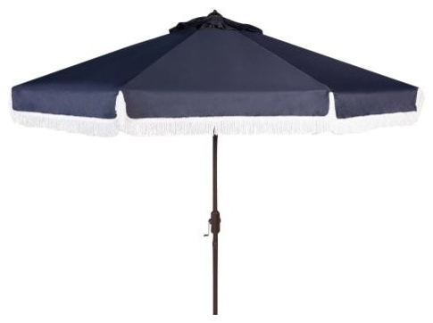 2017 Safavieh Pat8008 Milan 8 1/4 Foot Tall Automatic Tilt Crank Umbrella, Navy Within Caleb Market Umbrellas (View 2 of 25)