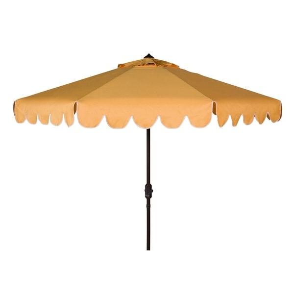 2017 Safavieh Venice Single Scallop 9 Ft Crank Yellow/ White Outdoor inside Venice Lighted Umbrellas