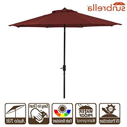 2018 9' Patio Umbrella Outdoor Table Umbrella 9 Ft Market Backyard Garden Patio  Umbrella W/crank And Auto Tilt Sunbrella Fabric Brick Red Cornell (9', Pertaining To Wiebe Market Sunbrella Umbrellas (View 2 of 25)