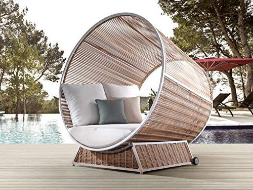 2018 Alexander Elastic Rectangular Market Sunbrella Umbrellas pertaining to Alexander Francis Letto Sunbrella Fabric Modern Day Bed - Circular Design