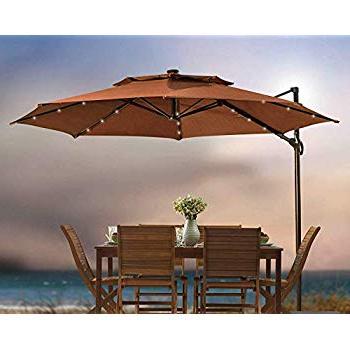 2018 Amazon : 11 Foot Round Solar Cantilever Umbrella With 360º throughout Maidenhead Cantilever Umbrellas