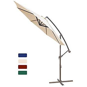 2018 Amazon : Kingyes 10Ft Patio Offset Cantilever Umbrella Market Pertaining To Kizzie Market Cantilever Umbrellas (View 19 of 25)