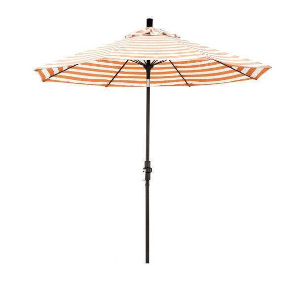 2018 Devansh Market Umbrellas regarding 9-Ft Tilt Patio Umbrella, Orange Natural White Stripe, Matteblack