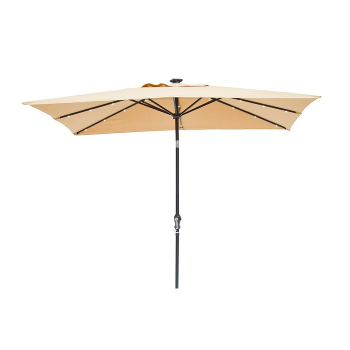 2018 Griselda Solar Lighted 9' X 7' Rectangular Market Umbrella with Griselda Solar Lighted  Rectangular Market Umbrellas