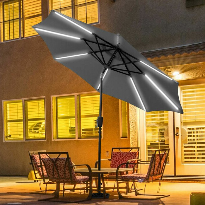 2018 Herlinda Solar Lighted Market Umbrellas Pertaining To Sinclair 9' Patio Led Light Market Umbrella (View 9 of 25)