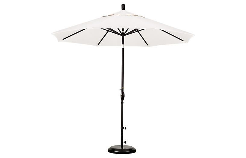 2018 Lagasse Market Umbrellas Pertaining To 9' Market Umbrella – Bronze/white – California Umbrella (View 19 of 25)