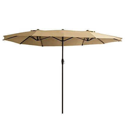 2018 Market Umbrellas with Flame&shade 15' Twin Patio Outdoor Market Umbrella Double Sided For Balcony  Table Garden Outside Deck Or Pool, Rectangular, Beige