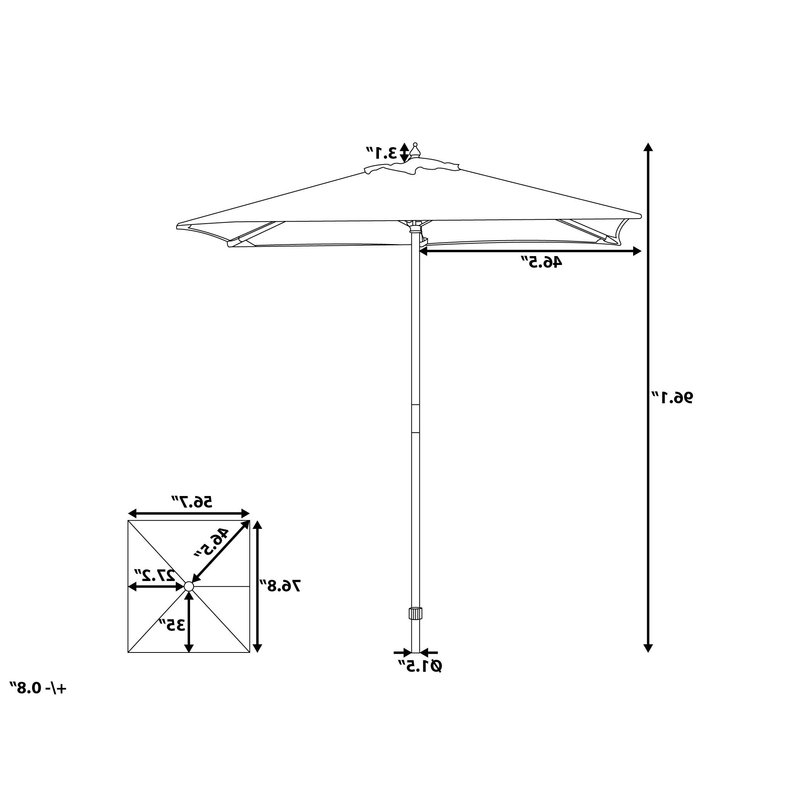 2018 Pau 4.7' X 6.4' Rectangular Market Umbrella inside Pau Rectangular Market Umbrellas