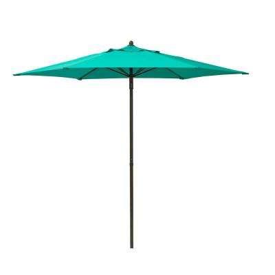 2018 Solid – Blue – Market Umbrellas – Patio Umbrellas – The Home Depot With Solid Market Umbrellas (View 2 of 25)