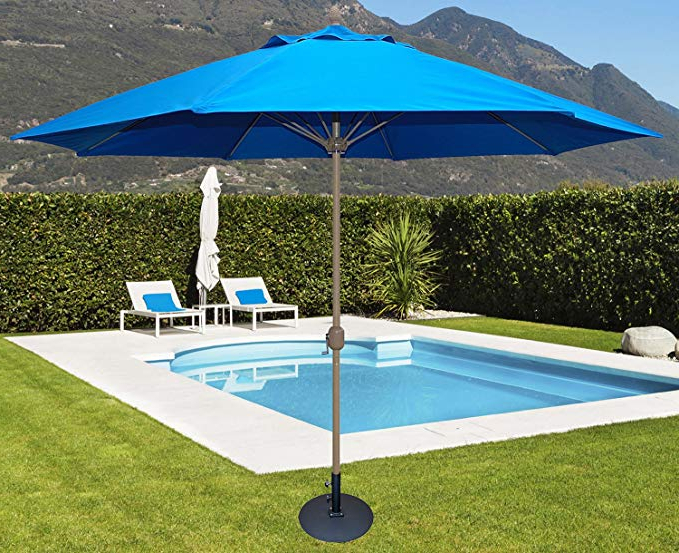 2018 Tropishade 11' Sunbrella Patio Umbrella With Royal Blue Cover Throughout Featherste Market Umbrellas (View 16 of 25)