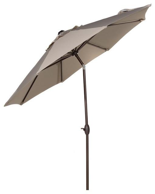 2018 Wiebe Auto Tilt Square Market Sunbrella Umbrellas In 9' Sunbrella Fabric Aluminum Patio Umbrella With Auto Tilt And Crank, Beige (View 1 of 25)