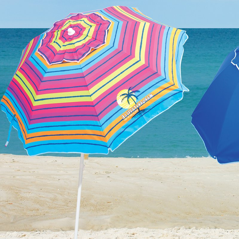6.5' Beach Umbrella for Well-known Margaritaville Green And Blue Striped Beach With Built-In Sand Anchor Umbrellas