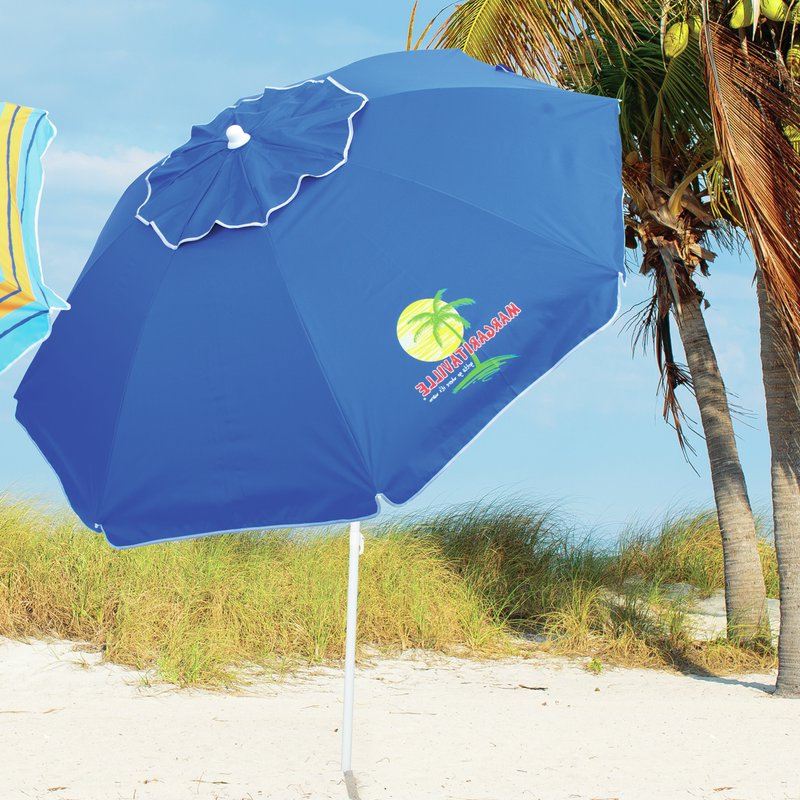 6.5' Beach Umbrella pertaining to Favorite Margaritaville Green And Blue Striped Beach With Built-In Sand Anchor Umbrellas