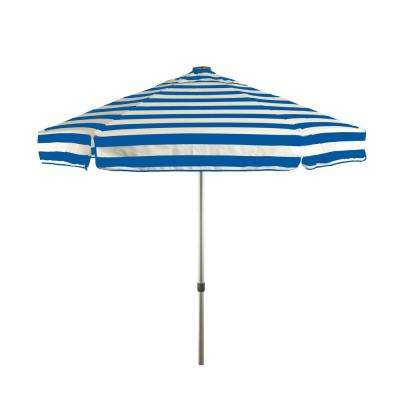 6.5 Ft. Aluminum Manual Tilt Drape Patio Umbrella In Royal Blue And White  Acrylic Stripes inside Current Drape Umbrellas