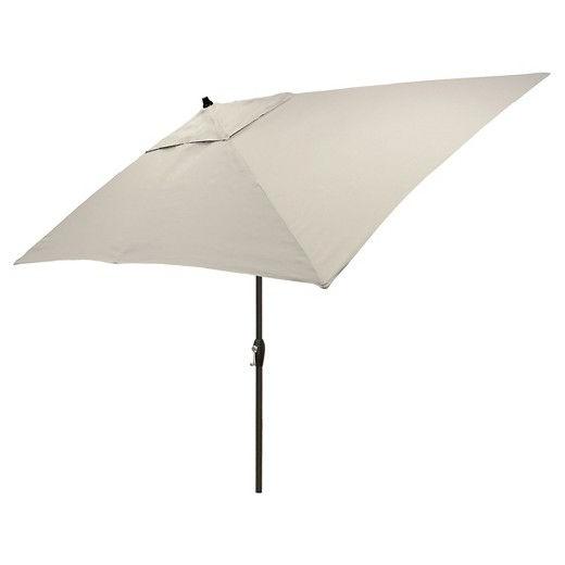 6.5'x10' Rectangular Patio Umbrella Solid - Black Pole - Threshold for Fashionable Bradford Rectangular Market Umbrellas