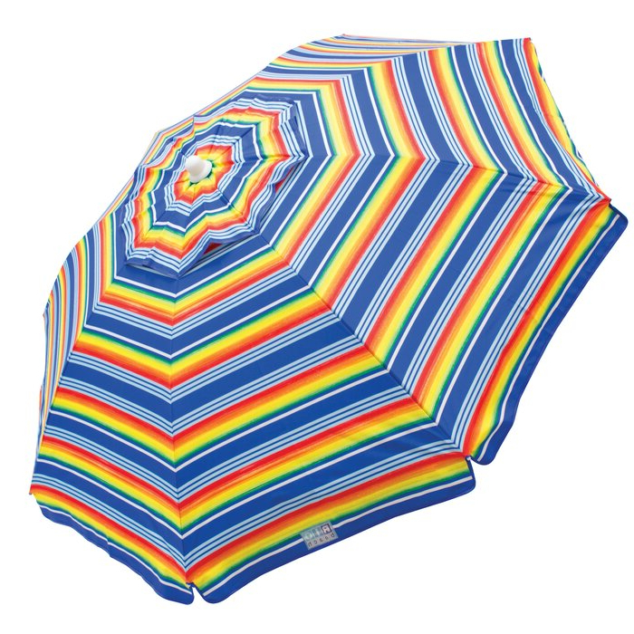 6 Ft. Beach Umbrella with regard to Best and Newest Margaritaville Green And Blue Striped Beach With Built-In Sand Anchor Umbrellas