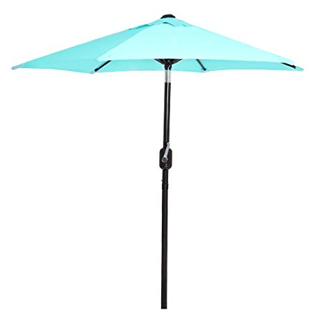 6 Ft Outdoor Patio Umbrella With Aluminum Pole, Easy Open/close Crank And  Push Button Tilt Adjustment - Aqua Market Umbrellas with Trendy Shropshire Market Umbrellas