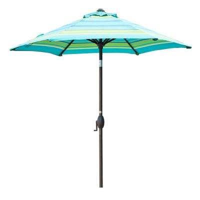 7 1/2 Ft. Aluminum Market Push Button Tilt And Crank Patio Umbrella In  Turquoise Stripe Regarding Trendy Market Umbrellas (Gallery 25 of 25)