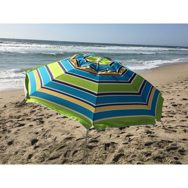 7' Beach Umbrella intended for 2018 Margaritaville Green And Blue Striped Beach With Built-In Sand Anchor Umbrellas