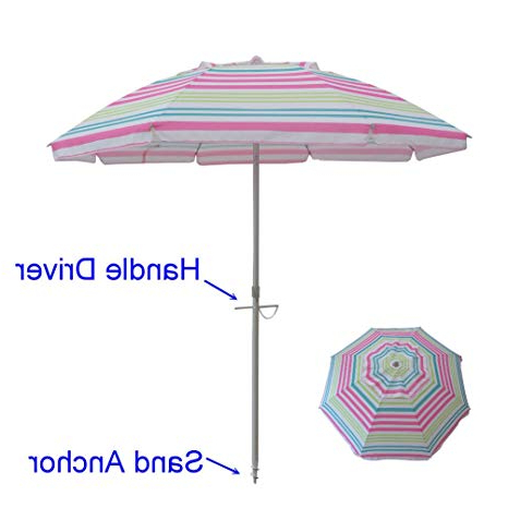 7 Feet Beach Umbrella With Tilt Mechanism And Carrying Case 7' Beach  Umbrella Includes Sand Anchor Telescoping Aluminum Pole Carry Bag Uv  Protection With Regard To Preferred Tilt Beach Umbrellas (Gallery 1 of 25)