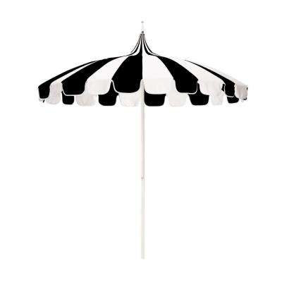 8.5 Ft. White Aluminum Market Push Lift Pagoda Patio Umbrella In Black And  Natural Pacifica pertaining to Most Up-to-Date Allport Market Umbrellas