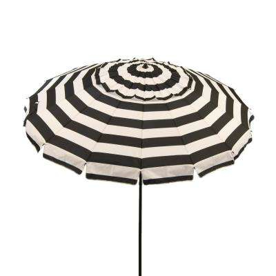 8 Ft. Aluminum Market Manual Tilt Beach Umbrella In Black And White Stripe  Polyester for Trendy Tilt Beach Umbrellas