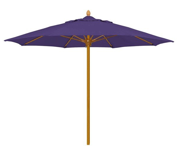 8 Ft. Bridgewater Octagonal Fiberglass Ribbed Market Umbrella With One  Piece Aluminum Simulated Wood Pole And Marine Grade Fabric - 30 Lbs. within Most Recently Released Market Umbrellas