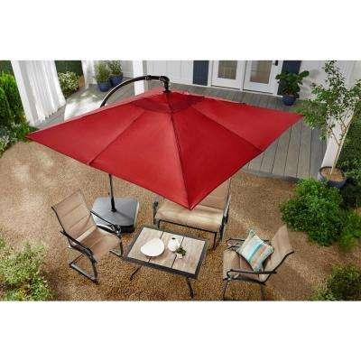 8 Ft. Square Aluminum Cantilever Offset Patio Umbrella In Chili With Regard To Fashionable Bondi Square Cantilever Umbrellas (Gallery 14 of 25)
