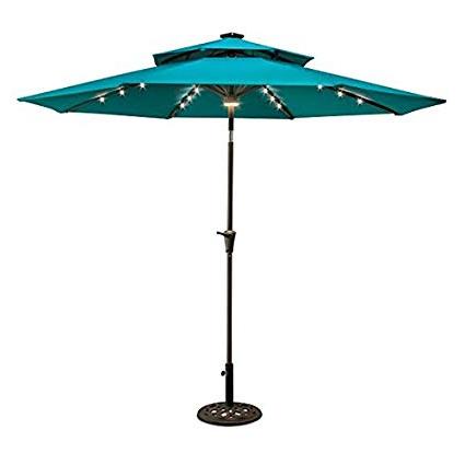 9' Double Top Solar Lighted Umbrella (Lake Blue) pertaining to Latest Dena Rectangular Market Umbrellas