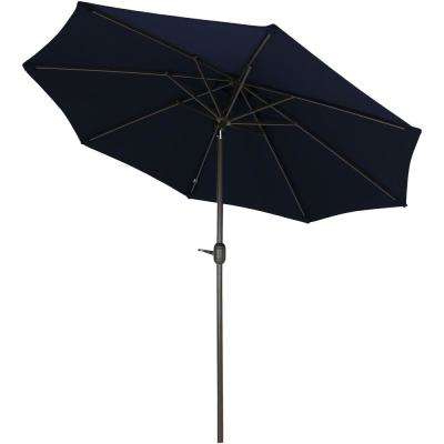 9 Ft. Aluminum Market Auto Tilt Patio Umbrella In Sunbrella Navy Blue Within Most Recently Released Wiechmann Push Tilt Market Sunbrella Umbrellas (Gallery 22 of 25)