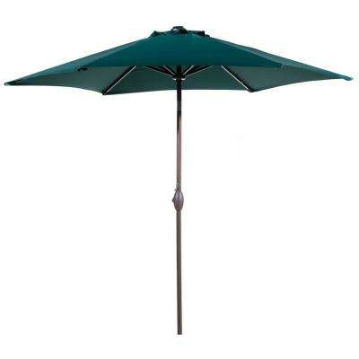 9 Ft. Aluminum Outdoor Market With Tilt And Crank Patio Umbrella In Dark  Green Intended For Most Current Cantilever Umbrellas (Gallery 12 of 25)