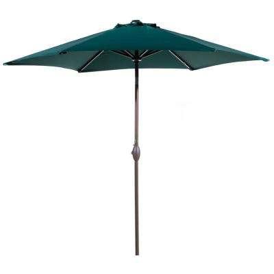 9 Ft. Aluminum Outdoor Market With Tilt And Crank Patio Umbrella In Dark  Green throughout Current Cantilever Umbrellas