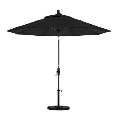 9 Ft. Matted Black Aluminum Market Patio Umbrella With Fiberglass Ribs  Collar Tilt Crank Lift In Black Sunbrella throughout Preferred Julian Market Sunbrella Umbrellas