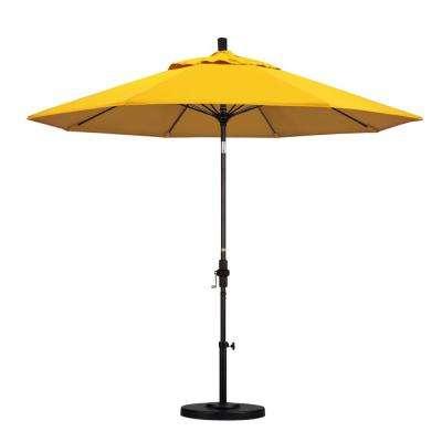 9 Ft. Outdoor Market Patio Umbrella Bronze Aluminum Pole Fiberglass Ribs  Collar Tilt Crank Lift In Sunbrella in Recent Artrip Market Umbrellas