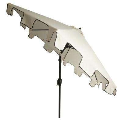 9 Ft. Steel Drape Patio Umbrella With Square Scalloped Key In White And  Black Trim in Preferred Devansh Market Umbrellas